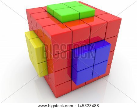 Cube divided into cubes on white . 3D illustration