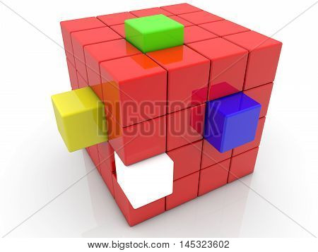 Red cube with colorful the projections . 3D illustration