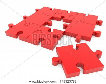 Puzzle pieces in red on white colors . 3D illustration