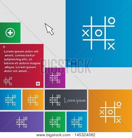 Tic Tac Toe Game Vector Icon Sign. Buttons. Modern Interface Website Buttons With Cursor Pointer. Ve