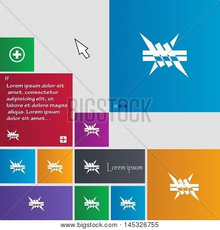 Barbed Wire Icon. Sign. Buttons. Modern Interface Website Buttons With Cursor Pointer. Vector