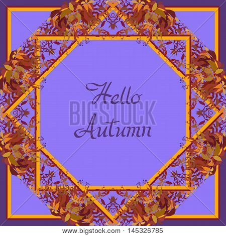 Autumn grape vine circle frame design and label with text hallo autumn. Wilde grape with red orange leaves and berries. Autumn or fall wreath design background. Vector illustration stock vector.
