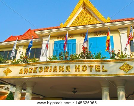 Siem Reap, Cambodia - February 16, 2011: A hotel Angkoriana in khmer style in Siemreap, Cambodia. Siem Reap is the capital city of Siem Reap Province and a popular resort town as the gateway to Angkor region