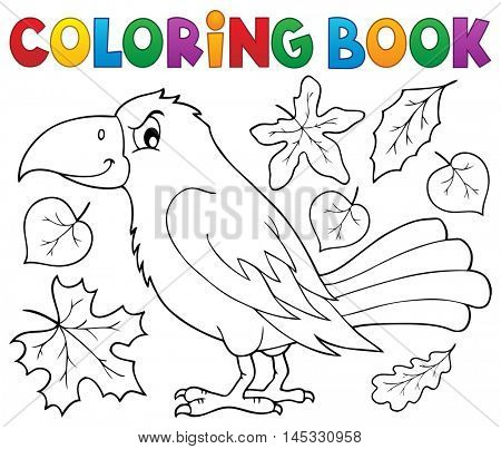 Coloring book with crow and leaves - eps10 vector illustration.