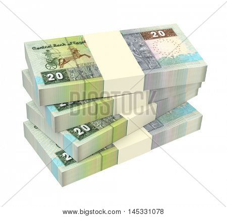 Egyptian pounds isolated on white background. 3D illustration.