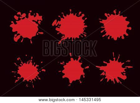 vector Set of Red Blood Splashes and splatters isolate on black background