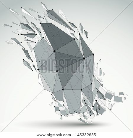 Vector Dimensional Wireframe Object, Demolished Shape With Refractions And Wreckage. 3D Mesh Technol