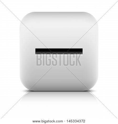 Web icon with minus sign. Rounded square button with black shadow gray reflection on white background. Series in a stone style. Vector illustration clip-art design element in 8 eps