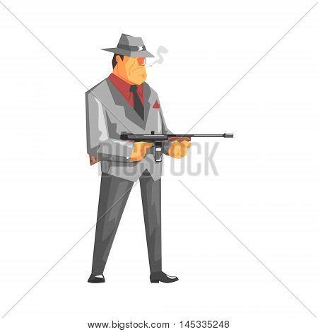 Vintage Style Mafioso With Machine Gun Old School Chicago Mafia Themed Illustration. Cool Colorful Vector Sticker In Stylized Geometric Cartoon Design