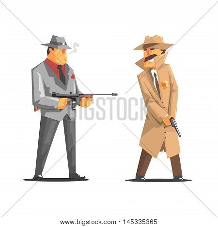 Criminal With Machine Gun Against A Police Detective Old School Chicago Mafia Themed Illustration. Cool Colorful Vector Sticker In Stylized Geometric Cartoon Design