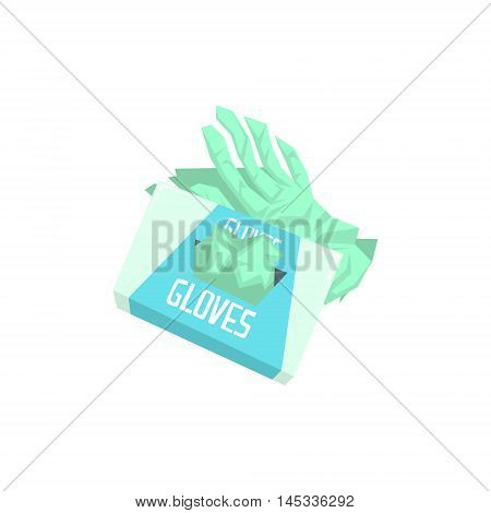 Pack Of Surgeon Silicon Gloves Hospital And Healthcare Themed Illustration. Cool Colorful Vector Sticker In Stylized Geometric Cartoon Design