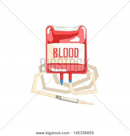 Bag And Iv For Blood Transfusion Hospital And Healthcare Themed Illustration. Cool Colorful Vector Sticker In Stylized Geometric Cartoon Design