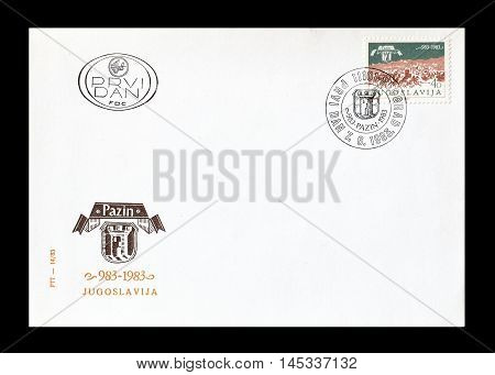 YUGOSLAVIA - CIRCA 1983 : Cancelled First Day Cover letter printed by Yugoslavia, that shows Pazin.