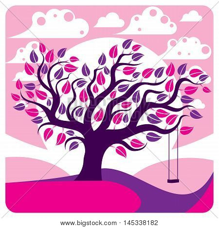 Vector branchy tree with swing on beautiful cloudy spring landscape. Idyllic and peaceful scene insight vector image purple.