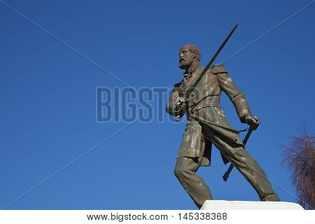 Statue of Arturo Prat in Punta Arenas, Chile. Prat is a Chilean Naval hero who was killed in 1879 during the War of the Pacific after being the first to board the Peruvian ironclad ship Huascar.