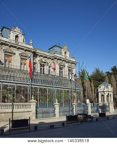 Historic mansion in the centre of Punta Arenas in the Magallanes Region of Chile. Originally built for Jose Nogueira and Sara Braun, it is now a hotel.