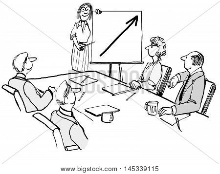 Business illustration showing a businesswoman presenting positive financial results in a meeting.