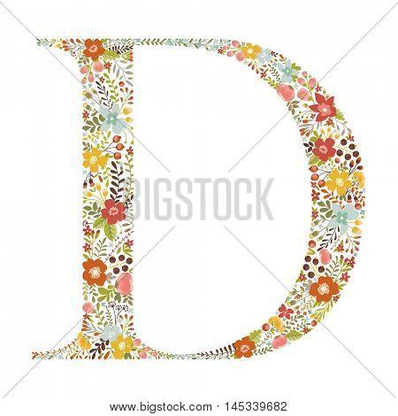 D letter with decorative floral ornament