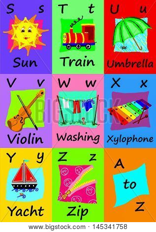 Alphabet flash cards collection S to Z. Naive child like colorful illustrations (A-Z set 3 of 3)