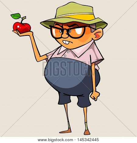 funny cartoon pot-bellied man holding a apple
