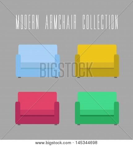 Modern Armchair Collection. Vector illustration on grey background vintage and retro theme. Four color variants of armchair to choose.