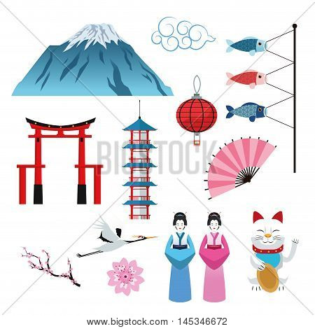arch building woman fish cat flower mountain lamp crane japan culture landmark asia famous icon. Colorful design. Vector illustration