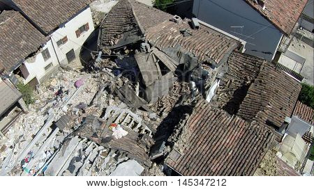 Amatrice earthquake - 24/08/2016: collapsed house - Casale