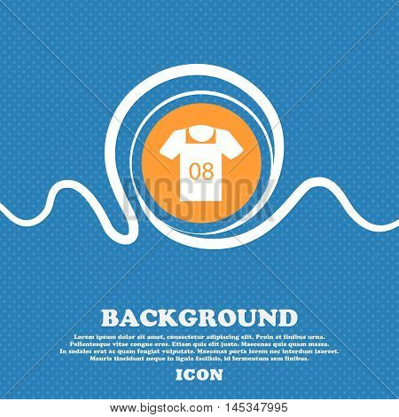 T-shirt Icon Sign. Blue And White Abstract Background Flecked With Space For Text And Your Design. V