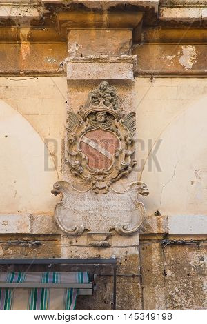 Detail of an hstorical palace of Molfetta. Puglia. Italy.
