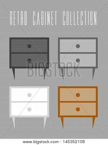 Retro Cabinet Collection. Vector illustration grey background. Vintage and retro theme. Four color variants of cabinet to choose.