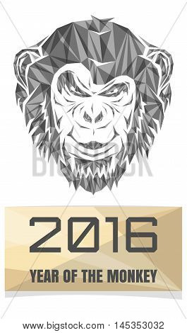2016 Chinese New Year of the Monkey. Ape composed of polygon triangles. Stock Vector Monkey. Christmas greeting card with a monkey.