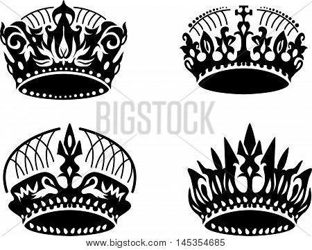 Vector black crown icons set on white. Elegant style design