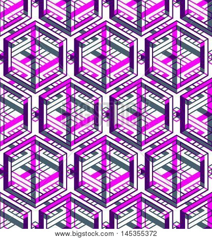 Contemporary abstract endless background three-dimensional repeated pattern. Decorative graphic entwine ornament.