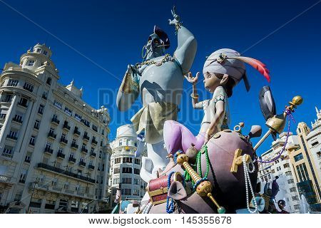 Valencia, Spain - March 16, 2008 - The Fallas Festival feast of Saint Joseph with the floral offering to the Virgin Mary