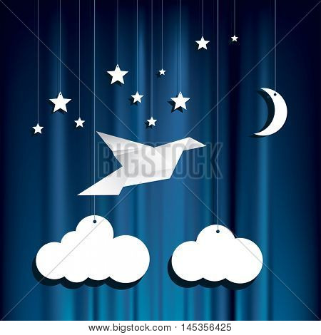 hanging paper stars, clouds and moon over blue velvet background, flying origami bird, vector illustration