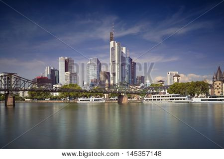 Frankfurt am Main. Image of Frankfurt skyline during sunny day.