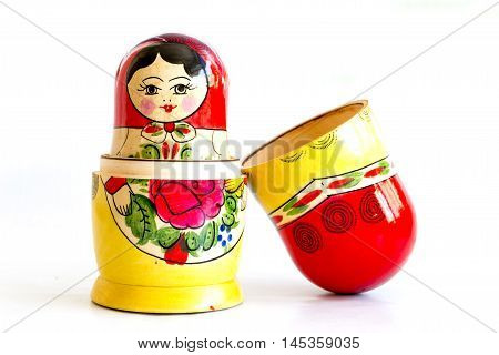 Sofia, Bulgaria  - May 15, 2016:Traditional Russian matryoshka dolls isolated on a white background.