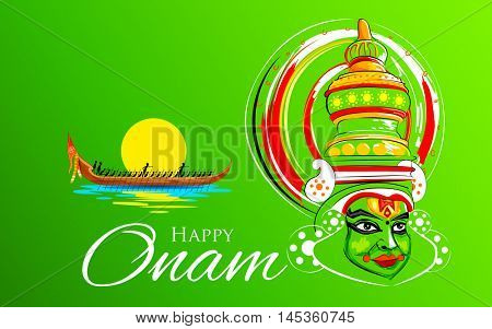 illustration of Kathakali dancer face and boat racing for Onam celebration