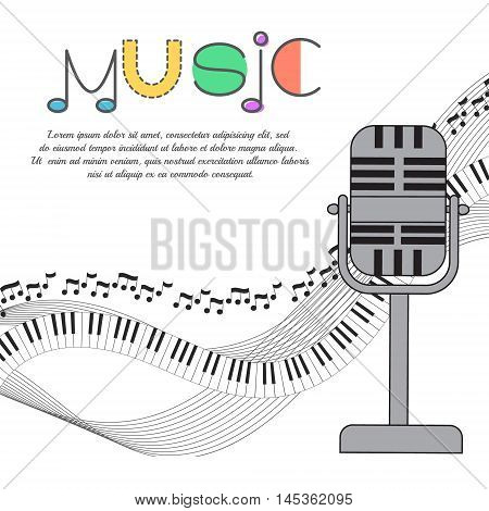 Music background poster template greeting card invitation design background. Guitarson white background. Vector illustration.