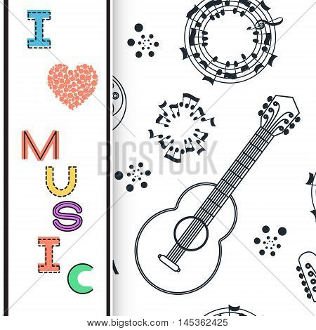 Music background poster template greeting card invitation design background. Guitar nots and musical symbols on white background. I love music card. Vector illustration.