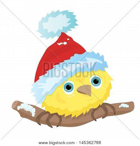 Cartoon blue bird in Christmas Santa hat illustration