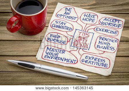 tips for well-being chart or mind map - a napkin doodle with a cup of espresso coffee