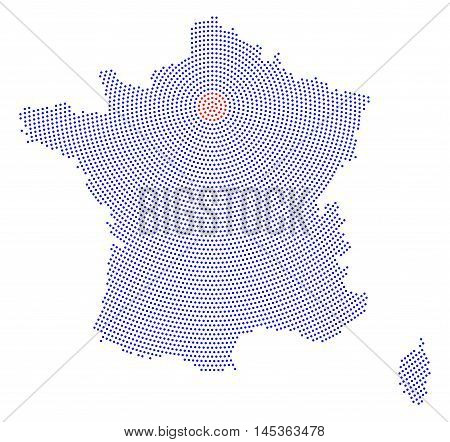 France map radial dot pattern. Blue dots going from the capital Paris outwards and form the hexagon silhouette of France with the island Corsica. Illustration on white background.