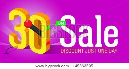 Super Sale banner with switch on off. Big sale. Sale poster. Discount just one day and special offer. 30% off.