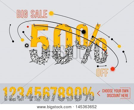 Big Sale with polygonal numbers. Super sale. Sale poster. Special offer. 50% off.
