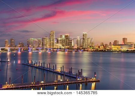 Miami, Florida, USA skyline over Biscayne Bay.