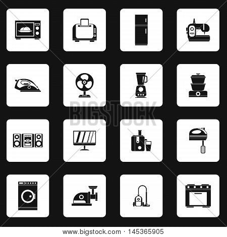 Household appliance icons set in simple style. Consumer electronics set collection vector illustration