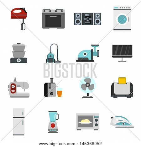 Household appliance icons set in flat style. Consumer electronics set collection vector illustration