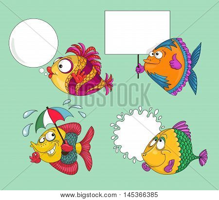 Hand drawn. Vector illustration. Cartoon. Funny fish with speech bubble on a green background. Isolated objects.