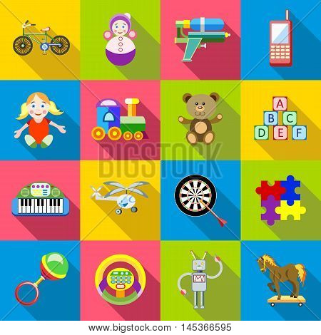 Childrens toys icons set in flat style. Colorful toys set collection vector illustration